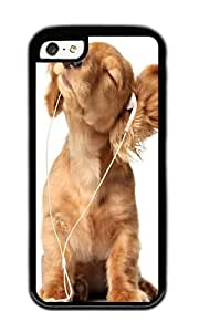 iPhone 5C Case,VUTTOO Stylish Doggy Listening To Music Soft Case For Apple iPhone 5C - TPU Black