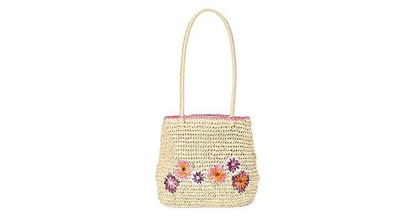 Amazon.com: Ganchillo de paja playa bolso de mano w/Flores ...