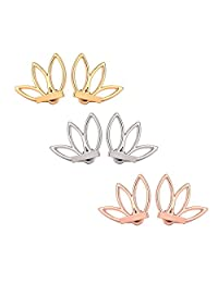 Emango 3 Pairs Ear Jacket Stud Lotus Flower Earrings for Women and Girls