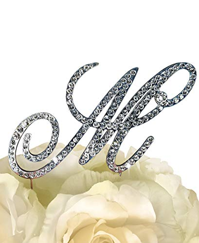 Victorian Collection Monogram Rhinestone Cake Topper - Large - Silver (4.75