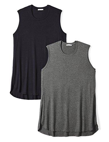 Daily Ritual Women's Plus Size Jersey Sleeveless Tunic, 2-Pack, 1X, Navy/Charcoal Heather (Heather Grey Sleeveless)