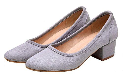 Amoonyfashion Femmes Chaussures À Talons Carrés À Talons Imitation Daim Pompes À Enfiler Chaussures Gris