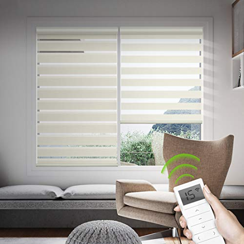 Yoolax Motorized Zebra Shades Free-Stop Cordless Zebra Blinds Rechargeable Dual Layer Sheer with Cassette Valance Window Blinds (Beige)