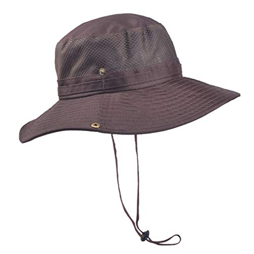 FEDULK Unisex Outdoor Camping Sun Hat Protection Bucket Mesh Hat Moisture Wicking Fabric, UV Sun Protection(Coffee) -