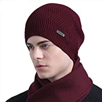 CACUSS Pure Wool Beanies Skull Caps Men Fashion Knit Skull Cap Hat Winter Beanie Hat Sports Knits Hats