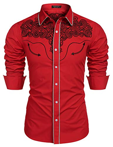 COOFANDY Men's Western Shirts Long Sleeve Slim Fit Embroideres Cowboy Casual Button Down Shirt]()