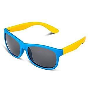 RIVBOS RBK023 Rubber Flexible Kids Polarized Sunglasses Glasses Age 3-10 (Blue)
