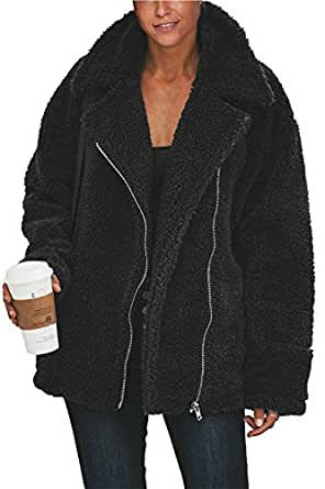 Womens Casual Fuzzy Outerwear Zip Up Lapel Pocket Fleece Jacket Coats Black S