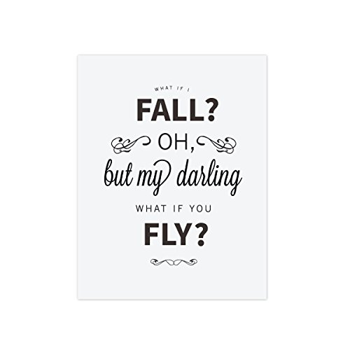 What if I Fall Oh but my darling what if you fly the perfect inspirational wall art print or nursery wall art, - Should Get Frame What Size I