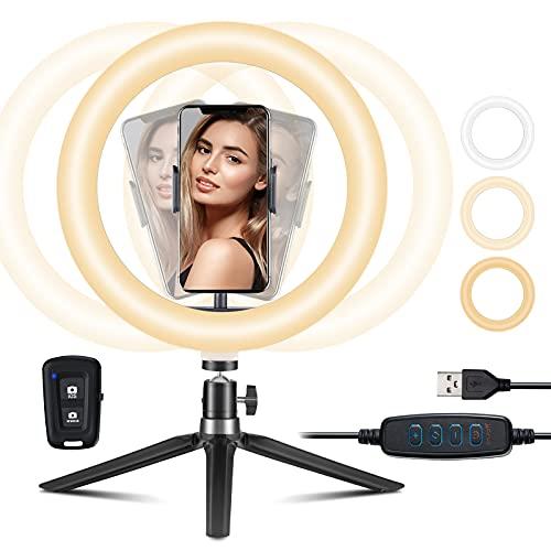 10 Zoll LED Ringlicht mit Stativ und Handyhalter, Selfie Ringleuchte mit 30 Lichtkombinationen, Bluetooth-Shutter, Geeignet für Selfieelfie,Tiktok,Make-up,Live-Streaming,Fotografie,YouTube,Lesen