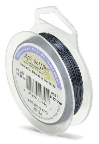 Beadalon 28 Gauge Silver Plated Artistic Wire, Hematite, 40-Yard