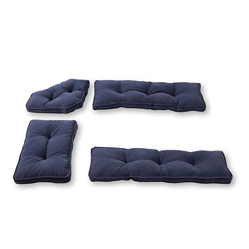 Greendale Home Fashions 4-Piece Nook Cushion Set Hyatt, Denim (Breakfast Nook Pillows)