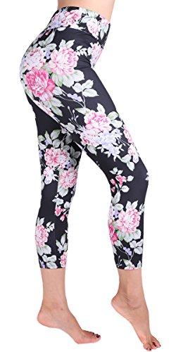 (Ndoobiy High Waist Printed Leggings Women's Solid Leggings Soft Yoga Workout Pants Stretchy Capris HWC2(Black Rose OS))