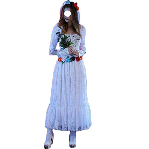 Stylish Halloween costumes, gorgeous and festive Halloween costumes Ladies Halloween Costume Terrorist Wear Mexican Undead Festival Masquerade Costume Lace Tulle Ghost Bride Dress Comfortable, Full ()