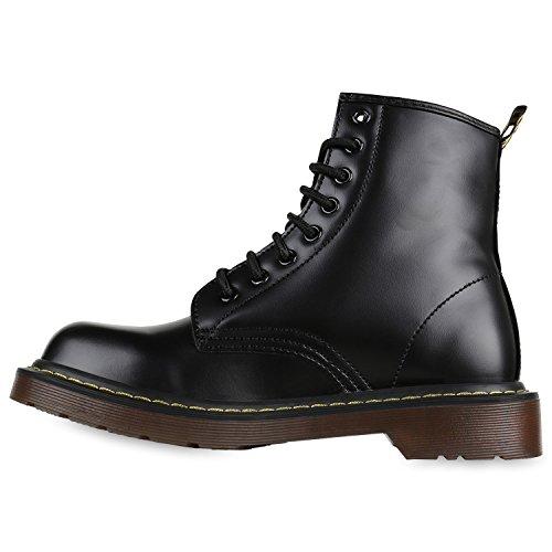 Stiefelparadies Damen Worker Boots Gefütterte Stiefeletten Leder-Optik Schuhe Flandell Schwarz Carlet Glitzer