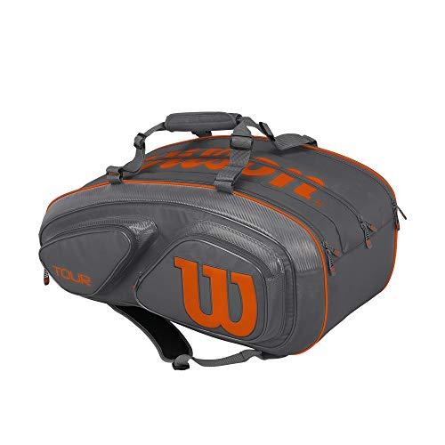 Wilson Tour V 15 Pack Tennis Bag, Grey/Orange