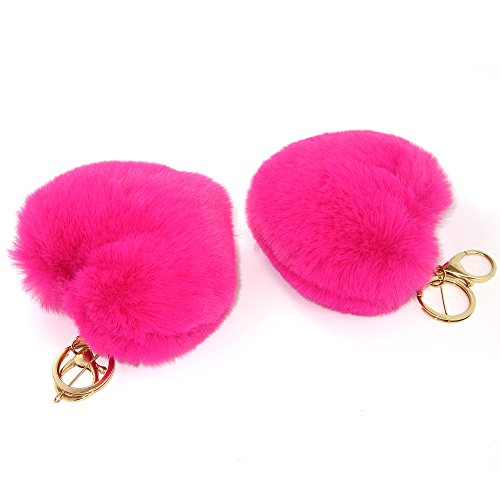 Price comparison product image Novelty Plush Faux Fur Pom Pom Ball Charm Keychain Keyring for Girl Women Purse Bag Pendant Car Ornament (Two pcs heart)