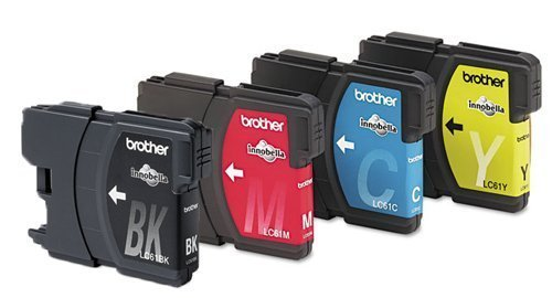 Genuine Brother LC61 (LC-61) Color (Bk/C/M/Y) Ink Cartridge 4-Pack (LC61BK, LC61C, LC61M, LC61Y) for Brother DCP-165C, DCP-375CW, DCP-385C, DCP-395CN, DCP-585CW, DCP-J125, DCP-J140W, MFC-250C, MFC-255CW, MFC-290C, MFC-295CN, MFC-490CW, MFC-495CW, MFC-5490CN, MFC-5890CN, MFC-5895cw, MFC-6490CW, MFC-6890CDW, MFC-790CW, MFC-795CW, MFC-990CW, MFC-J220, MFC-J265w, MFC-J270w, MFC-J410w, MFC-J415w, MFC-J615W, MFC-J630W Dcp 585cw Colour