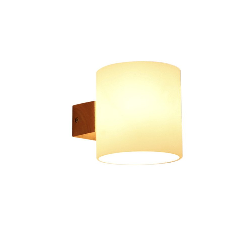 E27 modernes kreativ frosted Glas Lampenschirm Holz 1 Kopf Wand Lampe Schlafzimmer Schlafraum Korridor Hotel Restaurant Mauer Licht innen zuhause Zimmer Mall Dekor Wandlampen, 12*13cm [Energieklasse A++] NOHOPE