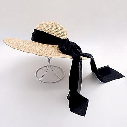 4bb87d3c ALWLj Wide Brim Raffia Straw Hats for Women Fashion Summer Beach Hats with  Chiffon Ties Sun