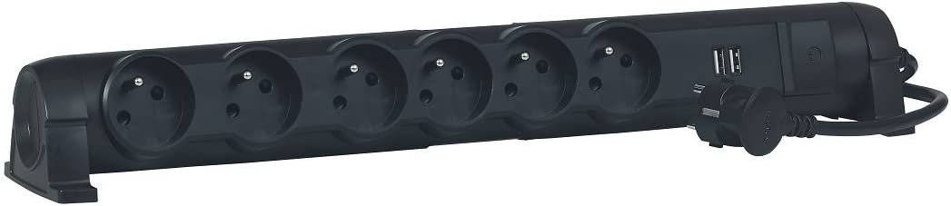 Legrand LEG50391 Rallonge multiprise 4 prises 2 p/ôles avec terre//2 chargeurs USB//cordon de 1,5 m Noir
