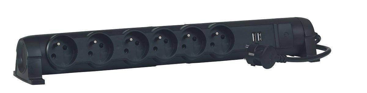 Legrand LEG50393 Rallonge multiprise 6 prises 2 p/ôles avec terre//2 chargeurs USB//cordon de 1,5 m Noir