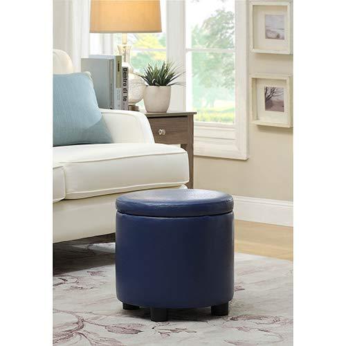 (Convenience Concepts Designs4Comfort Round Accent Storage Ottoman, Blue)