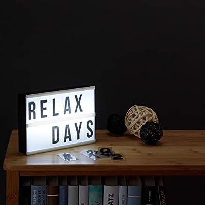Relaxdays Pack de 2 Cajas de Luz Led con Letras, Símbolos y Cifras, Plástico, Blanco y Negro: Amazon.es: Deportes y aire libre
