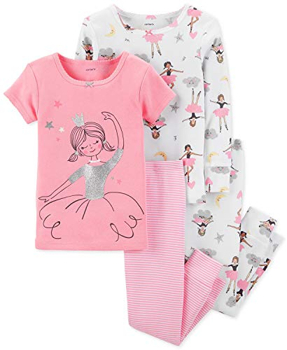 Two Ballerinas - Carter's Girls' Ballet 4-Piece Pajama Set (Pink Ballerina, 5)