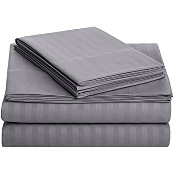 AmazonBasics Deluxe Striped Microfiber Bed Sheet Set - Twin, Dark Grey