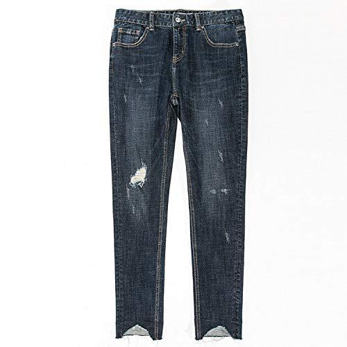 en MVGUIHZPO en de Mujeres Pantalones la XL Moda Los Oscuro Cintura Pantalones pequeños y Jeans Son Azul Irregulares Las Vaqueros la los en XS Irregulares UqFUrx