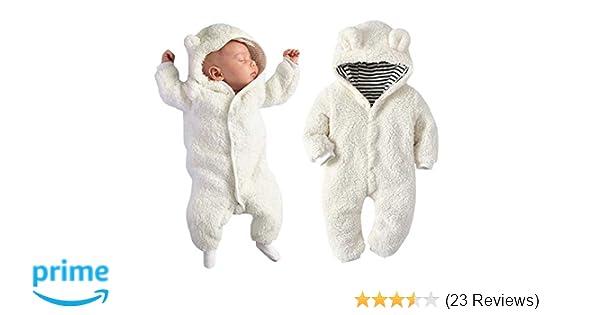 d6de44844a6f Amazon.com  Newborn Baby Boy Girl Bear Ear Hoodie Romper Stripe ...