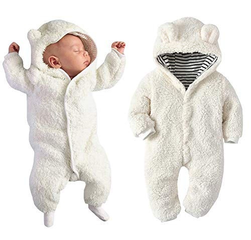 Newborn Baby Boy Girl Bear Ear Hoodie Romper Stripe Winter Fleece Warm Jumpsuit White (Infant Snowsuit Unisex)