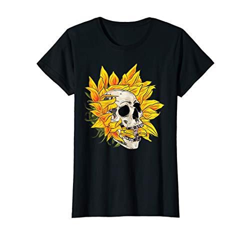 (Womens Flower Skull T-Shirt Sugar Roses for Women Girls mother day)