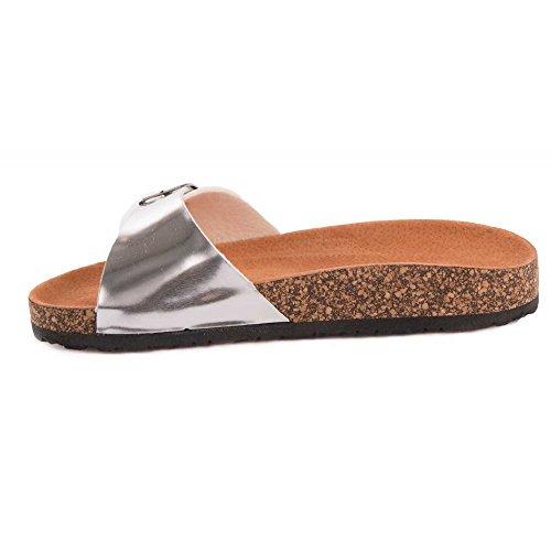 Primtex - Sandalias para mujer plata