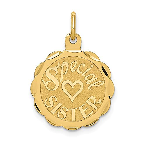 14k Yellow Gold Special Sister Pendant Charm Necklace Person Engravable Disc Round Fine Jewelry Gifts For Women For Her