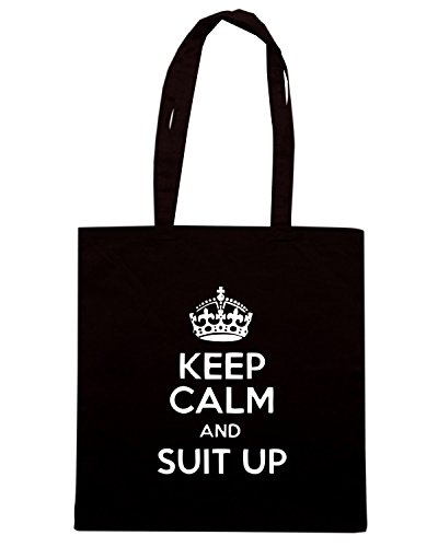 T-Shirtshock - Bolsa para la compra TR0086 Keep Calm and Suit Up 25mm 1 Pin Badge How I Met Your Mother Barney Stinson Negro