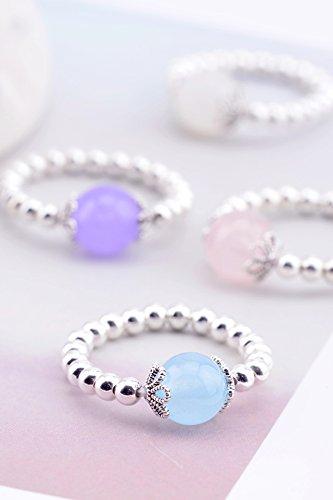 Generic s925 silver beads Korean natural crystal ball rose quartz chalcedony moonstone flowers elastic ring women girls lady