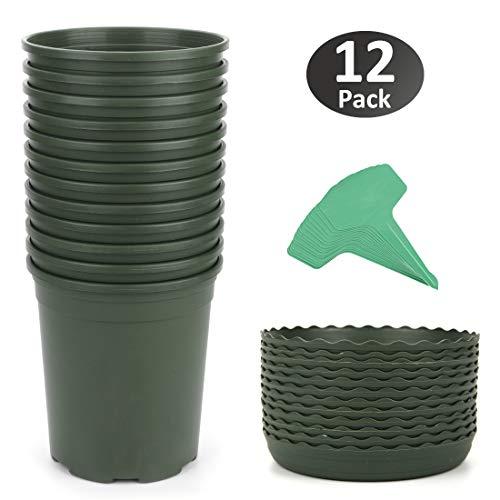 GROWNEER 12-Pack 1 Gallon Nursery Pot Garden Flower Pots, Green Nursery Plant Container Kit w/ 12 Pcs Matching Pallets & 15 Pcs Plant Labels