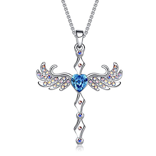 MEGA CREATIVE JEWELRY Cross Angel Wings Blue Heart Pendant Necklace with Crystals from Swarovski