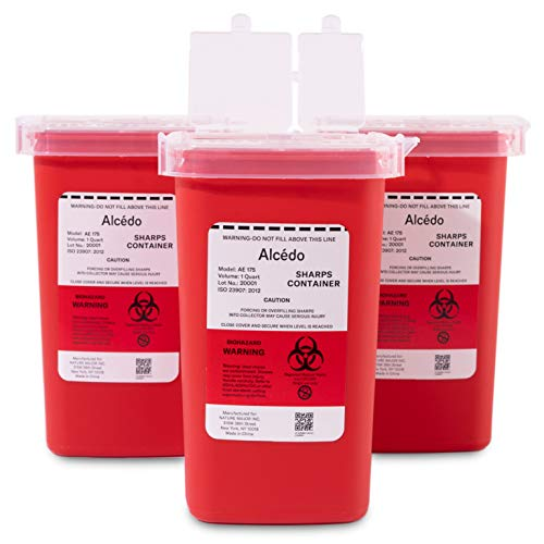 Alcedo Sharps Container for Home Use and Professional 1 Quart (3-Pack)   Biohazard Needle and Syringe Disposal   Small…