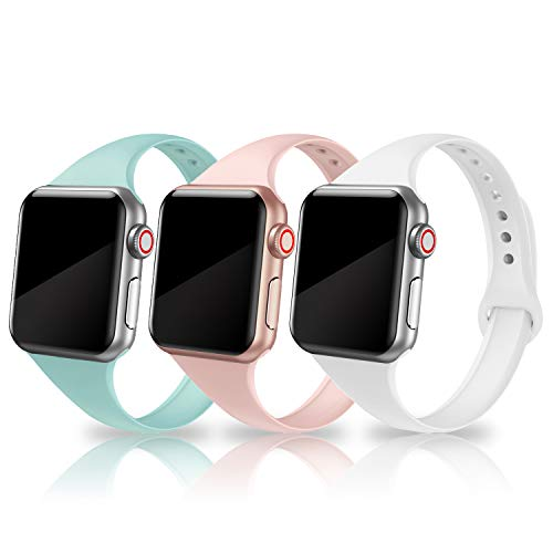 SWEES Sport Band Compatible with Apple Watch 38mm 40mm, 3 Packs Narrow Soft Silicone Slim Small Replacement Wristband for iWatch Series 5, Series 4, Series 3, Series 2 Series 1 Sport Edition Women Men