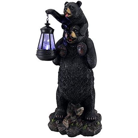 Lifting Spirits Bear Cub On Shoulders Statue And Solar LED Lantern