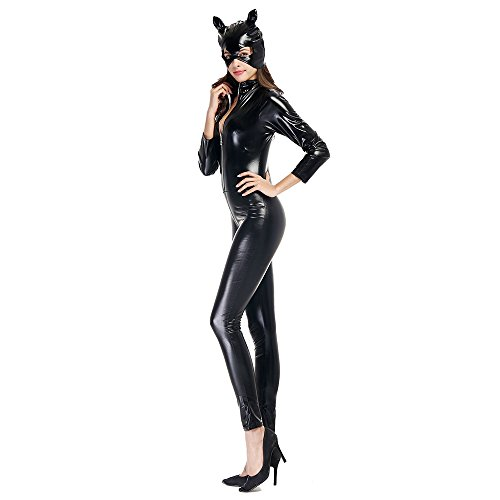 All Black Costumes For Halloween (TTLIFE Club Clothing Leather Pack Skin Models Cat Girl Motorcycle Jacket Halloween Party Suit Cosplay Costume(XX-Large))