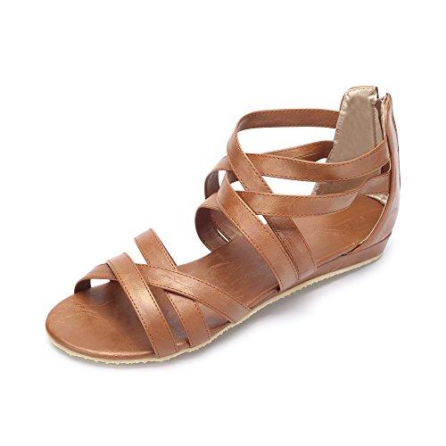 Hueco sandalias romanas ocasionales en verano yardas grandes Marron