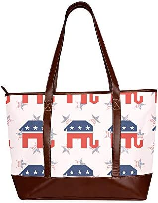 QIAOLII Éléphants républicains brisés sans couture sur les épaules sac à main sac à bandoulière grande capacité imprimé sacs femme avec fermeture à glissière poignée supérieure