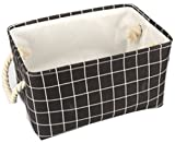 Lannu Fabric Storage Bin Decorative Collapsible Rectangular Organizer Basket for Clothes Storage,Toy Organizer,Pet Toy Storing,Kids Basket Baby Bin, Black