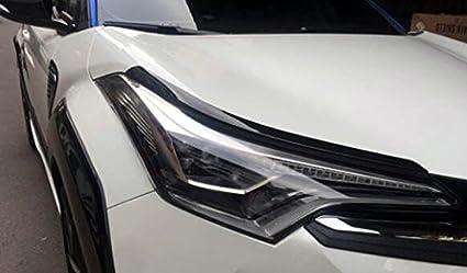 Para C-HR CHR 2017 2018 2019 Faros delanteros de pl/ástico ABS Color de fibra de carbono 2 Piezas HIGH FLYING