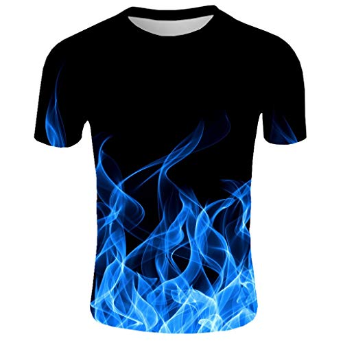 FONMA Men's New Summer T-Shirt T-Shirt with Round Neck Short Sleeve 3D Printed Top Blue]()