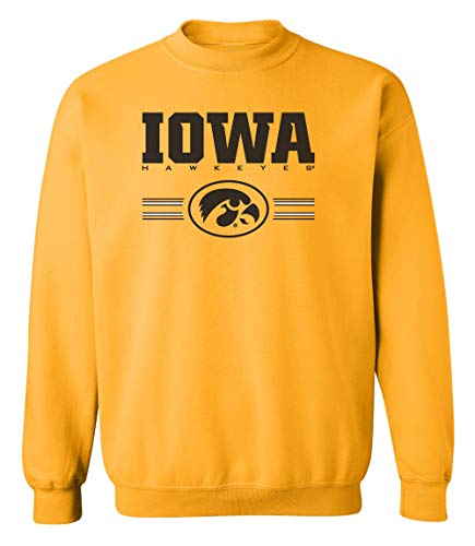 - CornBorn Iowa Hawkeyes Sweatshirt - Crewneck Fleece Iowa Hawkeyes Horizontal Stripe with Oval Tigerhawk - Gold - Small
